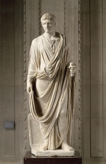 "TDO 2 - Empereur Auguste, type ""Prima Porta"" 30 à 20 av. J.-C. ; Modèle de 27 av. J.-C. : Corps moderne Marbre H = 196cm Paris, mdL."