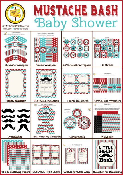 Little Man Mustache Baby Shower: Cute Clipart : Scrapbooking Supplies Online : Digital Graphics