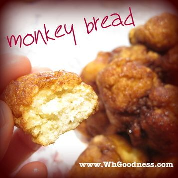 Monkey Bread? Oh yeah.... MONKEY bread! I don't know if it's a real thing or if my mom just called it that for us as kids cuz it was fun, but monkey bread is a great name for it! It falls apart after baking into balls. No throwing, now!  You can make it plain, cinnamon, herb... whatever you like. I show both applications here for plain and cinnamon.  This recipe is for after you have a ready-dough.