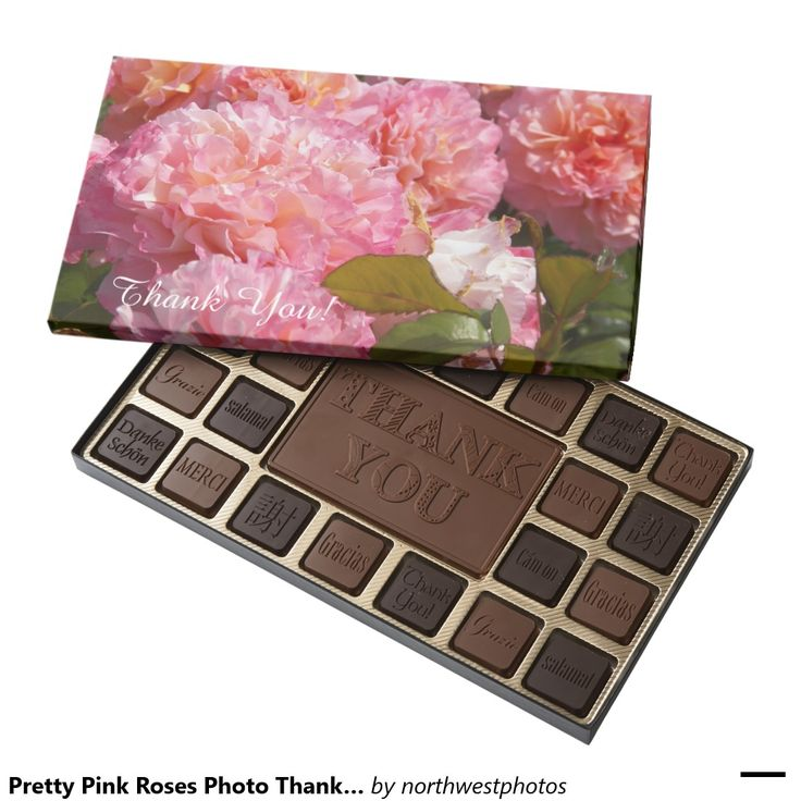 Pretty Pink Roses Photo Thank You 45 Piece Box Of Chocolates