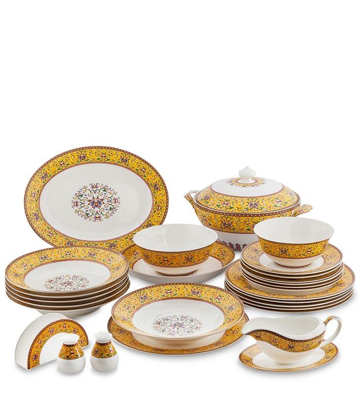 "Столовый сервиз из костяного фарфора на 6 персон ""Арабески"" JK-180 (Arabesca Yellow Pavone) / Костяной фарфор PAVONE luxury / Столовая посуда / Каталог / R-Gifts – интернет магазин подарков и сувениров. #dinnerware #porcelain #pavone #gifts #giftshop #подарок #фарфор #столовыйсервиз #столовыйнабор #сервировка"