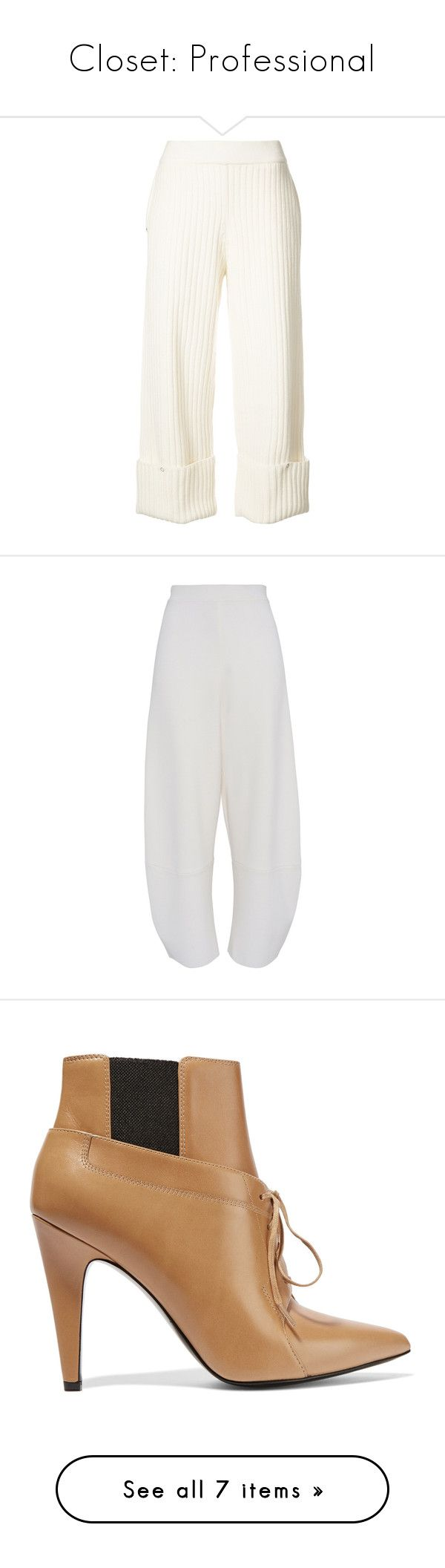 """""""Closet: Professional"""" by reesescup3000 ❤ liked on Polyvore featuring pants, capris, white, opening ceremony, cropped pants, snap pants, white crop pants, white cropped trousers, high waisted wide leg pants and wide leg trousers"""