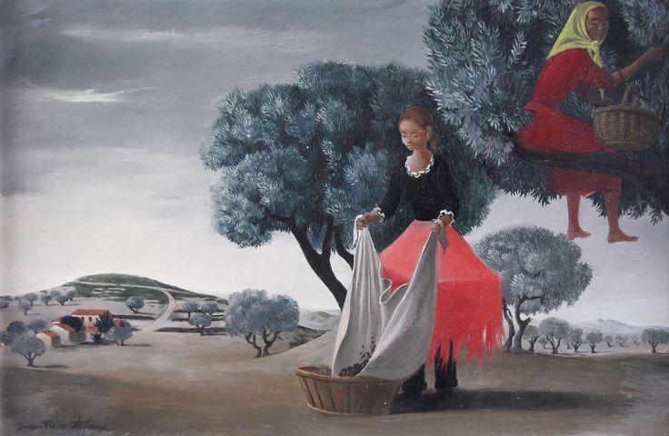 Jean-Pierre Alaux. 1925 La Ciotat/Bouches-du-Rhône. Olivenpflückerinnen. Olivenernte. Phantastischer Realismus. Öl auf Holz, signiert, 32 x 45 cm