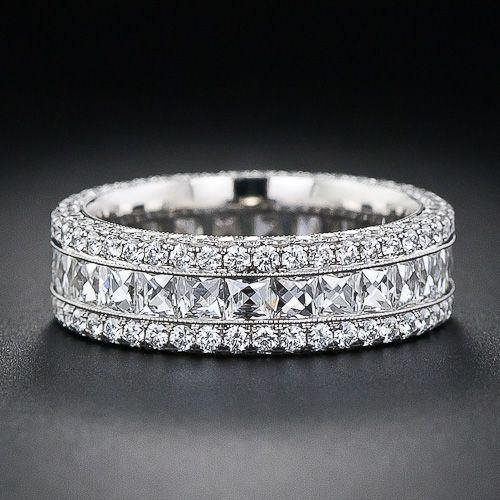 band baguette diamond rings platinum midcentury ring bands demi wedding