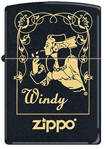 Zippo 218 Black Matte Windy Window Zippo Lighter Zippo Gold Zippo
