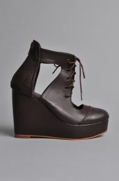 Handsom Winter Wedge Shoes Dark Brown