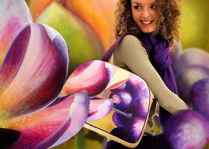 """Fun fashion accessories with artprint of original oil painting """"Floral Theatre"""": shoulder bag & silk scarf."""