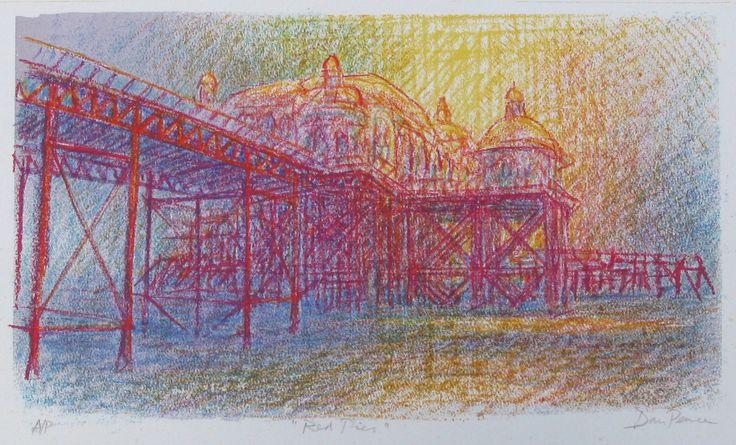 """Red Pier"" 45x26cms. The wonderful West Pier again (""The West Pier is the best pier"")"