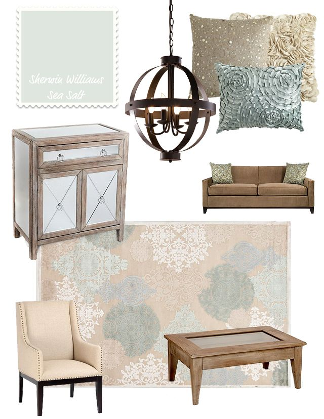 10 Inspired Great Room Mood Boards: Wall Color: Sea Salt, Sherwin Williams.