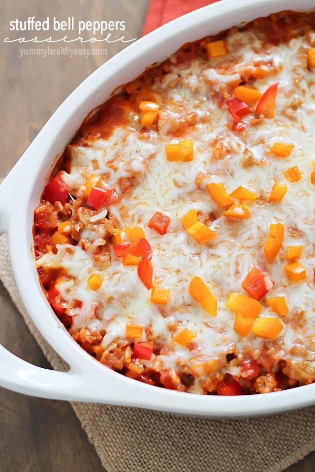 Stuffed Pepper Casserole! A delicious, healthy and satisfying casserole dish.