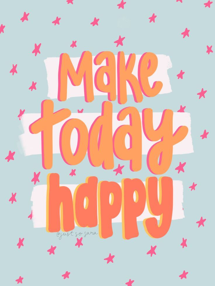 Make Today Happy Pink Orange Blue Happy Words Quote Aesthetic Photo Wall Collage