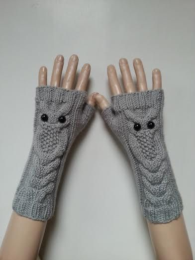 EXPRESS SHİPPİNGGray Owl Hand-Knitted Fingerless by ReyyanCrochet