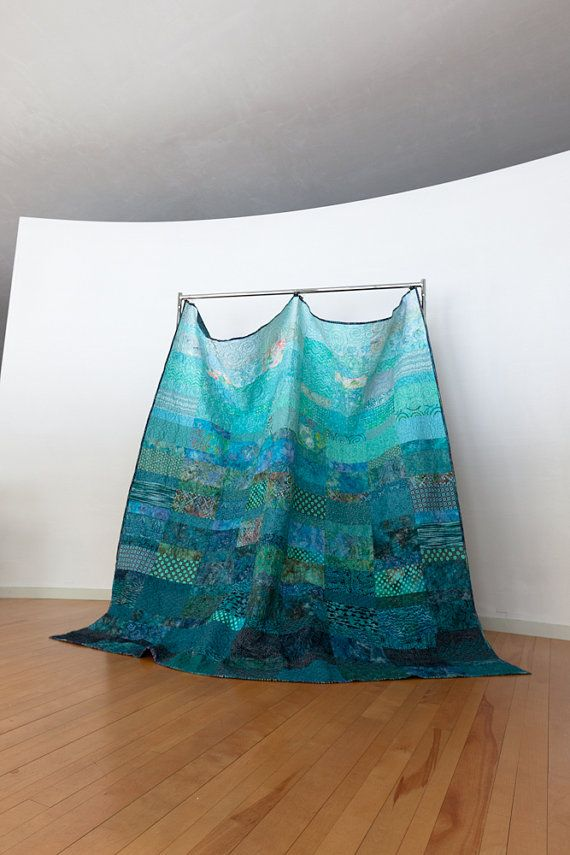 Quilt - extra king size - ocean rain - made to order The new photos! Yes, that is a curved wall, not a fisheye lens :)