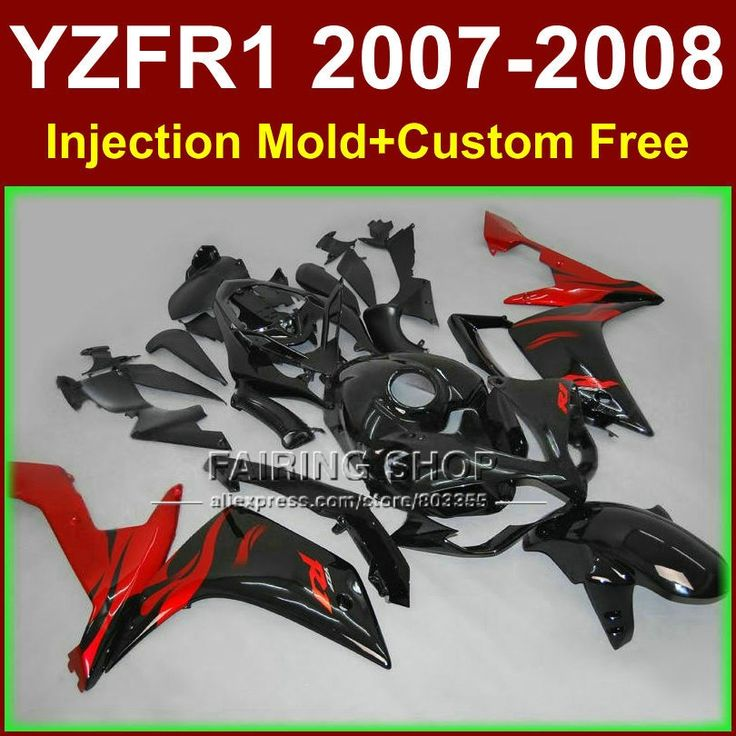427.80$  Buy here  - Flame in black bodyworks for YAMAHA YZFR1 2007 2008 R1 fairing sets YZF R1 YZF1000 YZF 1000 07 08 fairings kits S5TH