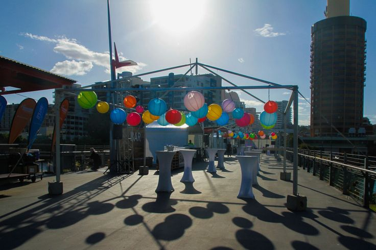 Destination Q on Victoria Bridge | High bars and lanterns by Ede Events Party https://www.edeevents.party/collections/honeycomb-decorations