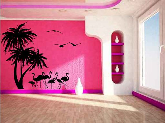 Tropical Palm Trees Flamingos And Sea Gulls Vinyl Wall