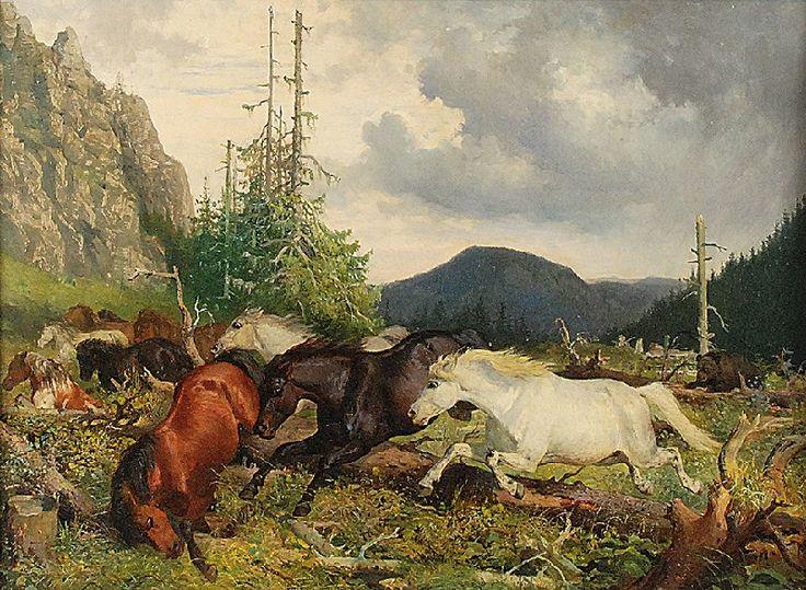 Józef JAROSZYŃSKI (1835-1900)  Pejzaż z końmi uciekającymi przed niedźwiedziem olej, płótno; 54 x 74 cm