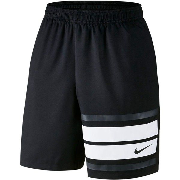 "Nike Men's Court Dri-fit 9"" Tennis Shorts (60 AUD) ❤ liked on Polyvore featuring men's fashion, men's clothing, men's activewear, men's activewear shorts, black, mens activewear and mens activewear shorts"