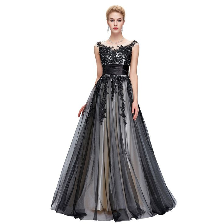 Long Black Evening Dresses Elegant Soft Tulle Lace Night Party GownsPeacock Dress,Like if you are Excited!Get it here