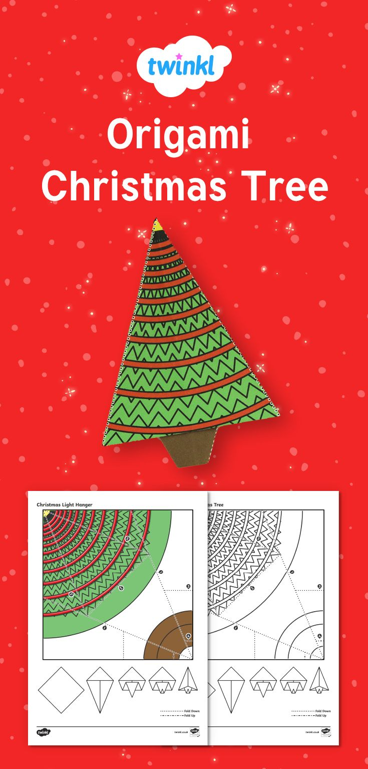 Simple Origami Christmas Tree Paper Craft to print and make at home