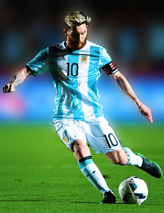 Lionel Messi kicks the ball during a match between Argentina and Colombia as part of FIFA 2018 World Cup Qualifiers at Bicentenario de San Juan Stadium on November 15, 2016 in San Juan, Argentina.