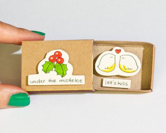 Cute Romantic Christmas Card / Let's Kiss Mistletoe by shop3xu