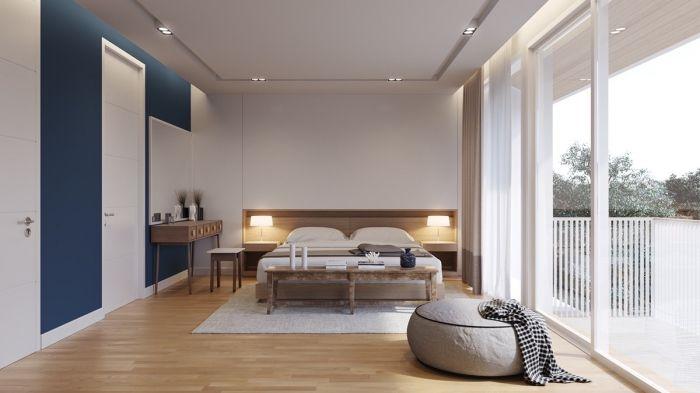 modèle de chambre complete adulte avec grand lit de bois et meubles blancs sans poignées, plafond blanc suspendu avec éclairage led