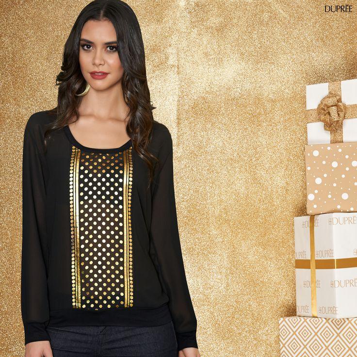 Blusa Negra y dorada. Combinación para deslumbrar en la noche. Dupree
