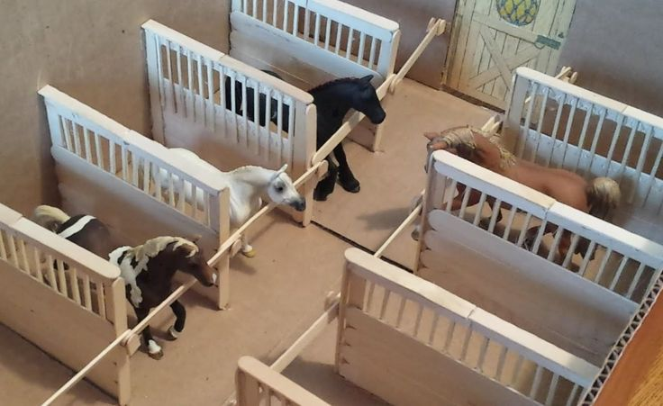 DIY horse stable dividers for a model horse box barn. If you're building a horse barn from a box, these stall dividers look great, are easy to put together, and very functional. They will make your barn look very special. :) Horselover8602 How to make. How, Make, Box,
