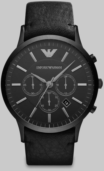 Emporio Armani Leather Chronograph Watch in Black for Men - Lyst