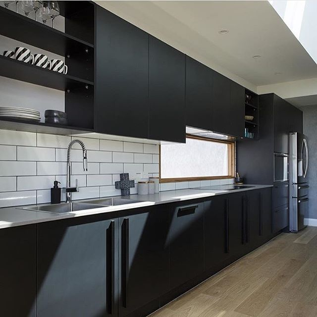 Matte black trendy kitchen   @caesarstoneau #interior_delux  #kitchens…