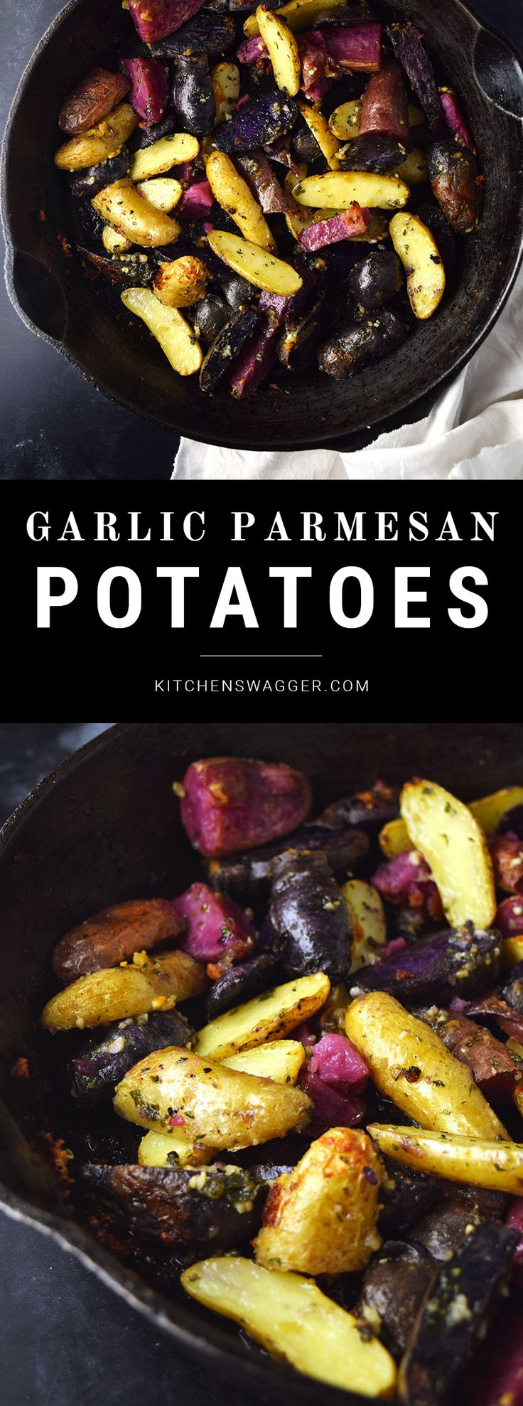 Garlic and parmesan fingerling potatoes are oven-fried in olive oil and butter for a golden, crispy outside and tender inside.