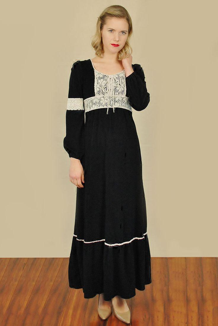 Vtg 70s Blk White Velvet Hippie Festival Medieval Prairie Maxi Dress S | eBay