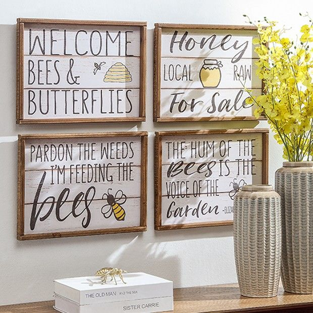Country Honey Bee Wall Decor Set Of 4 Honey Bee Decor Bee Wall Bee Kitchen Theme