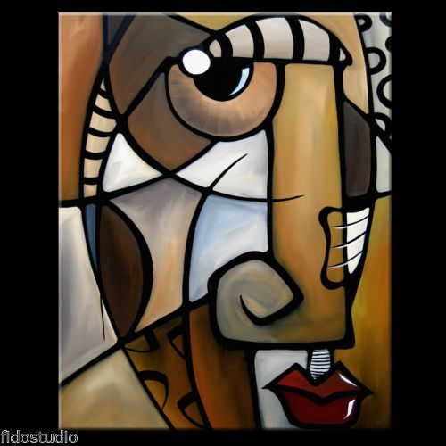 STYLIZED-Original-Abstract-Modern-Cubism-FACE-Art-Canvas-Painting-Fidostudio