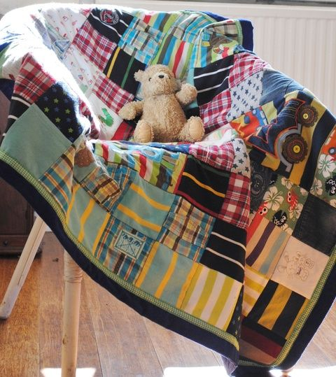 A custom keepsake memory cot-bed quilt from baby clothes