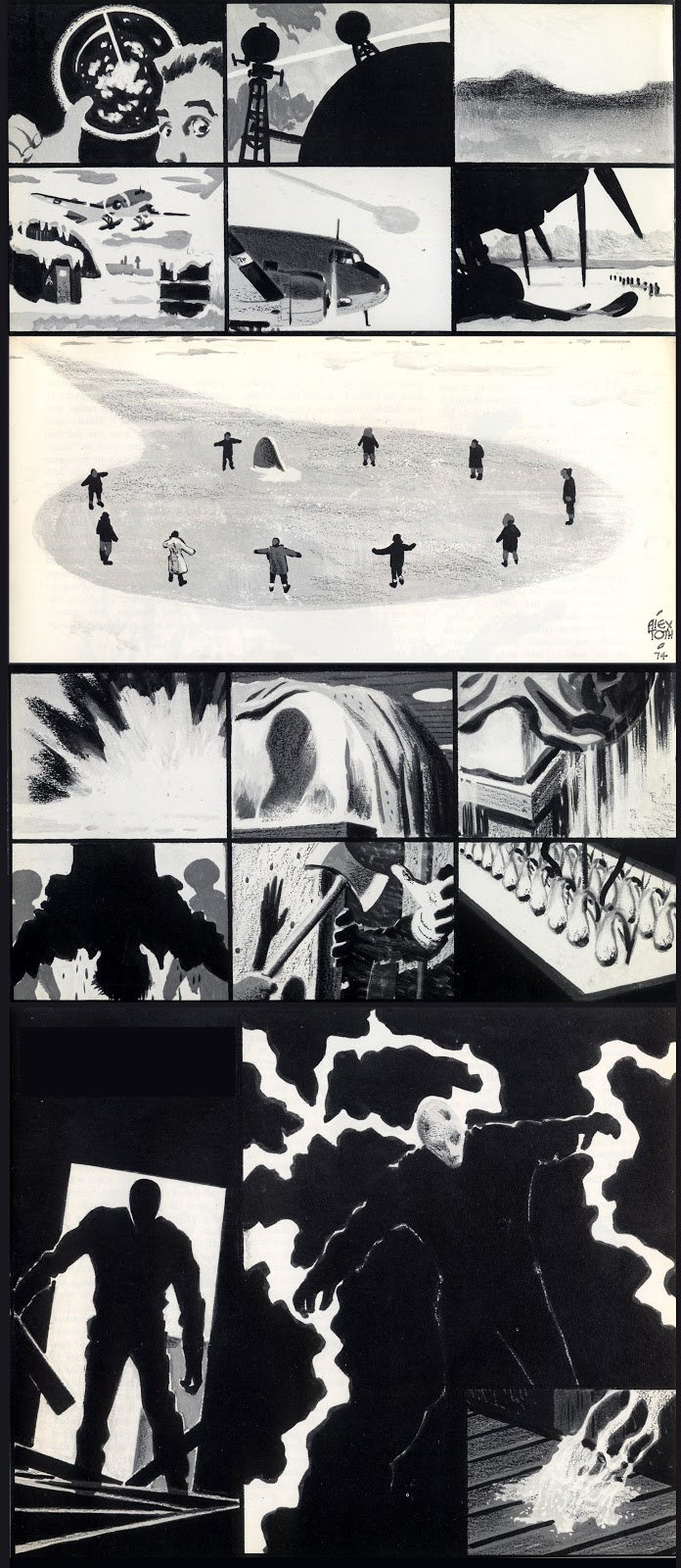 """The Thing From Another World by Alex toth      via muddycolors.blogspot.com    """"Awhile back on the Spectrum Live Facebook Page we had posted Alex Toth's comics retelling of the Howard Hawks/Christian Nyby film The Thing From Another World—which he did masterfully in only 16 panels! Drawn originally for a small press magazine in the early 1970s, it's simply too good not to see larger...so I'm sharing it again here."""""""