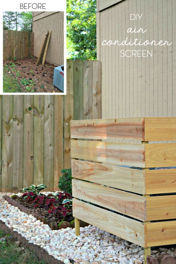 Using just some cedar and some handy outdoor glue, I created an easy DIY screen to hide my air conditioning unit on the side of the house