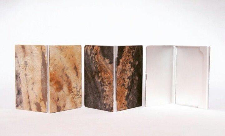 Natural stone slate veneer business card holders