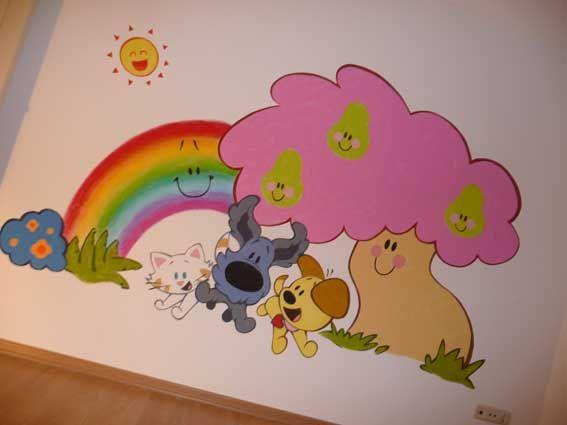 Behang Kinderkamer Regenboog : Woezel en pip muurschildering wall paintings childrens rooms