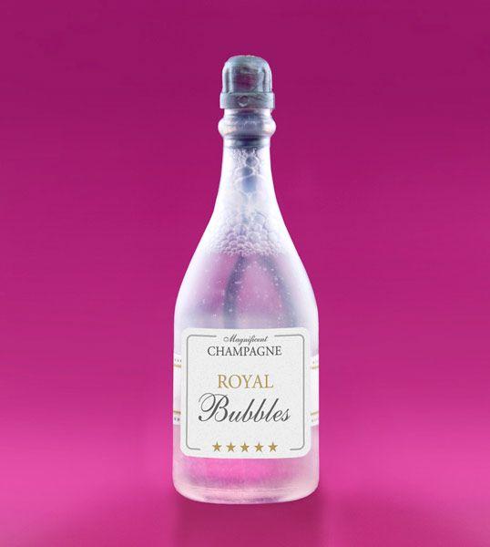 Sæbebobler til bryllup Sød champagne flaske fyldt med sæbebobler til bryllup