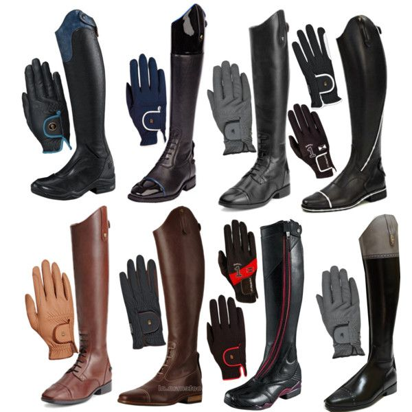 Matchy Matchy Boots and Gloves - great idea!  from http://www.polyvore.com/matchy_boots_gloves/set?id=119684532 #charleighscookies #horsecookies #equestrianaccessories
