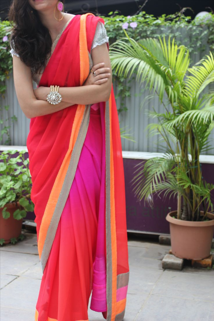 love the bracelet. Sunset saree. #indian #saree