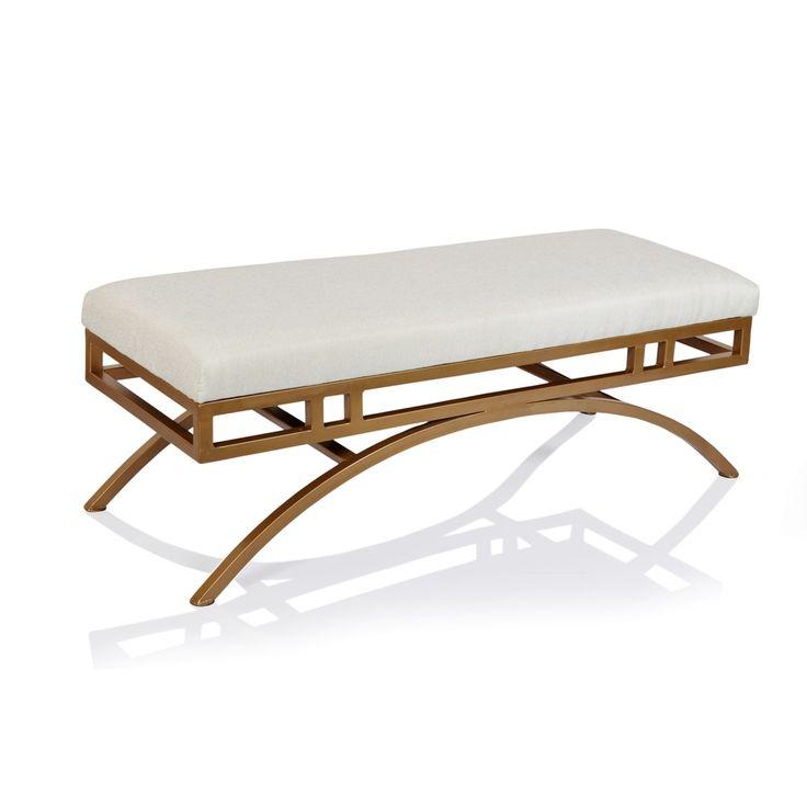 Horizon Boston Natural Blend Fabric Ottoman/Bench with Goldtone Metal Frame