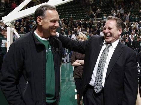 Spartan pride! MSU football coach Mark Dantonio and MSU basketball coach Tom Izzo