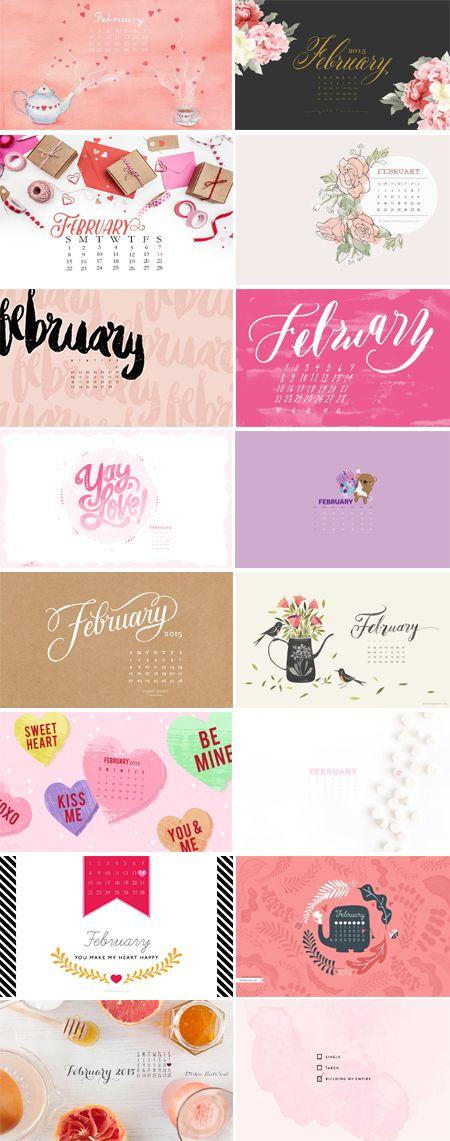 On The Blog // February Desktop Calendars - 2015