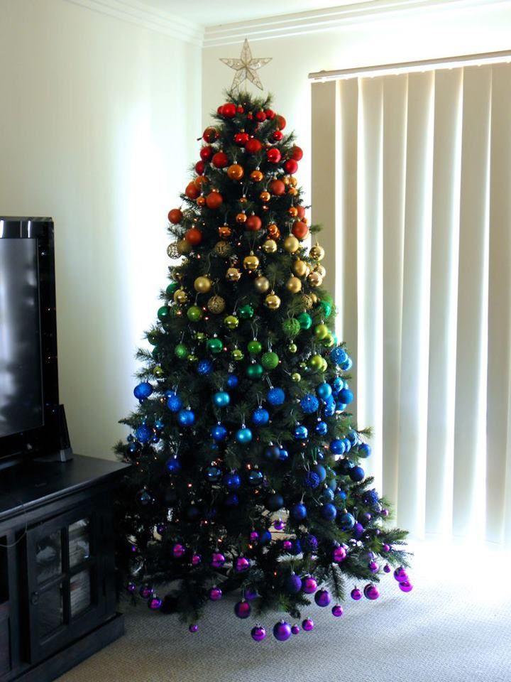 I'm SOOO doing this Rainbow Christmas Tree this year!