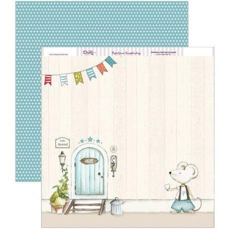 Papel scrap con la casa del ratoncito Pérez y estampado azul por el revés #scrap #conideade #manualidades