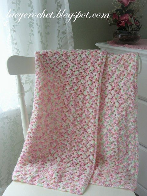 really love the lacy pattern for summer a/c coverup. Very pretty fro spring and summer babies! Summer Baby Blanket in Variegated Yarn, Free Pattern