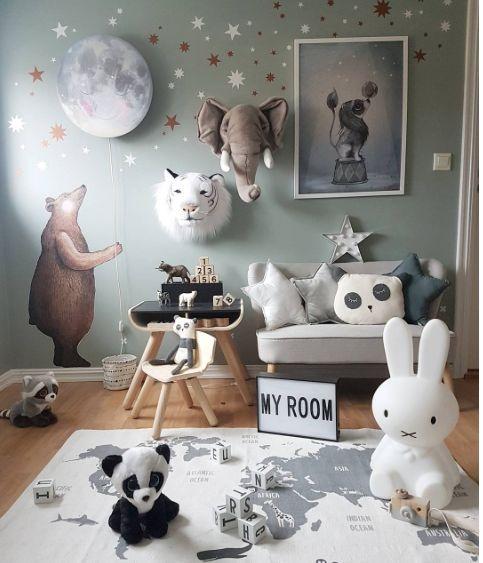 Nursery room by @malin (mammamala) with @hartendief.com #sleepymoon wall lamp and #bear sticker #moon #smile #bear #deer #owl #fox #kids #sleepy #nursery #new #walllamp #nurserydecor #interior #lamp #hartendief #hartendieftips #sleepymoon